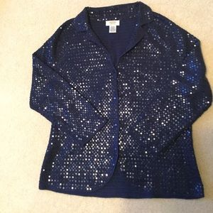 WOW!  Navy Sequined Silk Cotton Cardigan Sweater